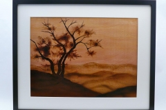"""11.1 Framed Lonesome Tree Pyrographed Baltic Birch Framed 20.5""""x16.5"""""""