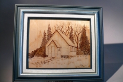 "2.1 Framed Church Pyrographed Baltic Birch 14""x12"" SOLD"