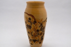 "2.1 Vase Maple Pyrographed pierced 10""x5"""