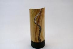 "6.1 Vase Ash Pyrographed 7""x3"""